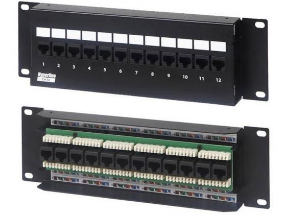 Купить Патч-панель Hyperline PPW-12-8P8C-C5e-FR настенная 12 портов RJ-45(8P8C), категория 5е Патч-панели