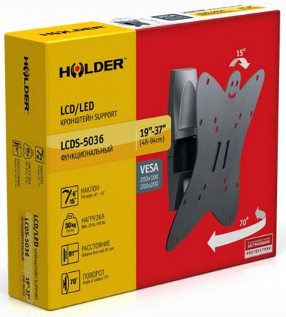 Кронштейн Holder LCDS-5036 серый для ЖК ТВ 19-37 настенный от стены 91мм наклон +6°/-15° поворот 135° до 30кг тумба holder albero tv 37140 н черная
