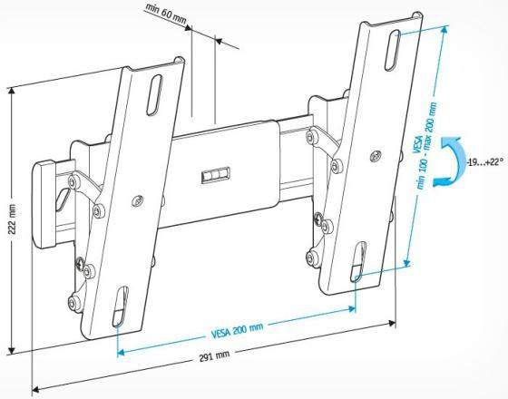 Кронштейн Holder LCD-T2611-B черный для ЖК ТВ 22-47 настенный от стены 60мм наклон -19°/+22° VESA 200x200 до 30 кг holder lcd t2611 b для 22 –47 чёрный