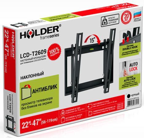 Кронштейн Holder LCD-T2609-B металлик для ЖК ТВ 22-47 настенный от стены 60мм наклон -19°/+22° VESA 200x200 до 40 кг holder lcd t2611 b для 22 –47 чёрный