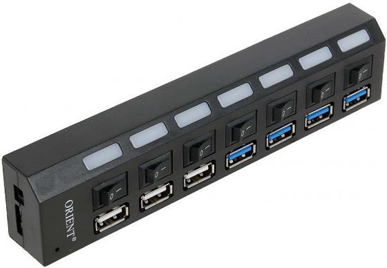 Концентратор USB 3.0 ORIENT BC-315 4 х USB 3.0 3 x USB 2.0 черный