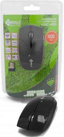 Мышь беспроводная Kreolz WMC-450b чёрный USB