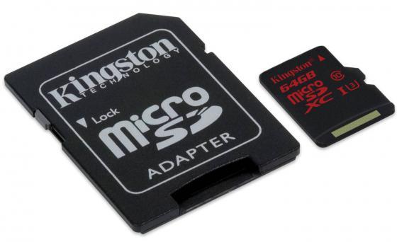 Карта памяти Micro SDXC 64GB Class 10 Kingston SDCA3/64GB + адаптер карта памяти micro sdxc kingston sda10 512gb