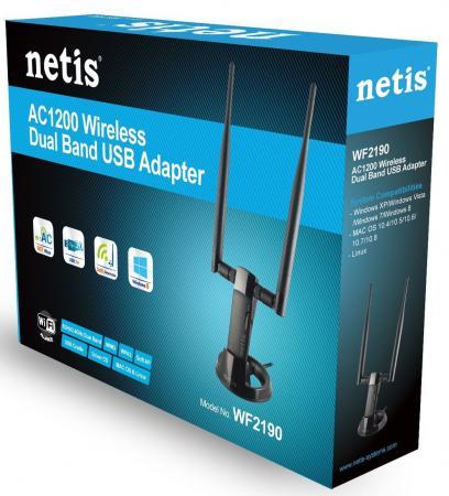 Купить Беспроводной USB адаптер Netis WF2190 802.11ac 867Mbps 2.4/5ГГц Wi-Fi адаптеры