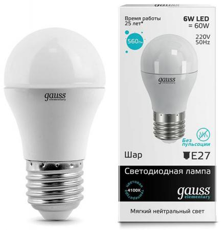 Купить Лампа светодиодная шар Gauss E27 6W 4100K 53226 Лампы светодиодные