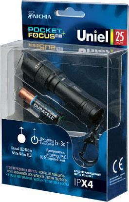 Купить Ручной светодиодный фонарь Uniel (05142) от батареек 79х19 25 лм P-KL024-P Black Фонарики