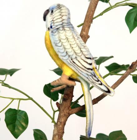 Мягкая игрушка попугай Hansa Попугай волнистый голубой 15 см разноцветный искусственный мех синтепон 4653П hansa мягкая игрушка волнистый попугайчик голубой hansa