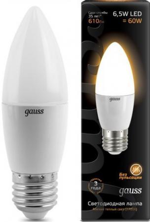 Купить Лампа светодиодная свеча Gauss 103102107 E27 6.5W 2700K Лампы светодиодные