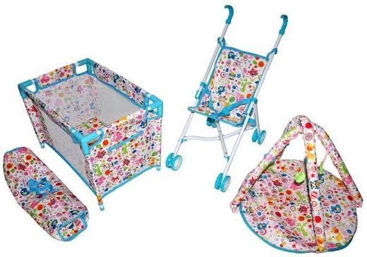 Купить Набор 3 в1 Mary Poppins Фантазия : кроватка, коляска-трость, коврик для куклы 38-43 см 67320 Аксессуары для кукол