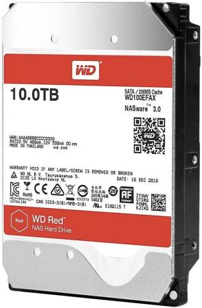 Жесткий диск 3.5 10Tb 5400rpm Western Digital WD Red SATAIII WD100EFAX жесткий диск 3 5 8 tb 5400rpm 128mb cache western digital purple sataiii wd80purz