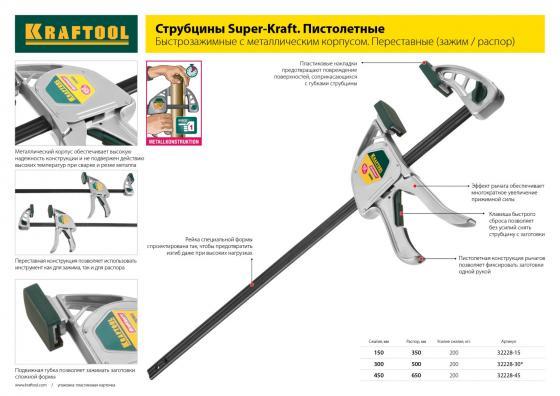 Струбцина Kraftool Expert EcoKraft 32228-15  струбцина kraftool ecokraft ручная пистолетная 450 650мм 200кгс 32228 45