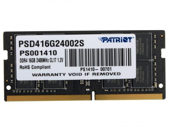 Оперативная память для ноутбуков SO-DDR4 16Gb PC4-19200 2400MHz DDR4 DIMM Patriot PSD416G24002S