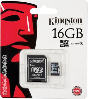 Карта памяти Micro SDHC 16GB Class 4 Kingston SDC4/16GB + адаптер SD