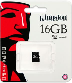 Карта памяти Micro SDHC 16GB Class 4 Kingston SDC4/16GBSP