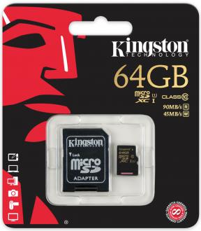 Карта памяти Micro SDXC 64GB Class 10 Kingston SDCA10/64GB + адаптер SD