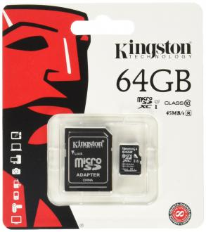 Карта памяти Micro SDXC 64GB Class 10 Kingston SDC10G2/64GB + адаптер