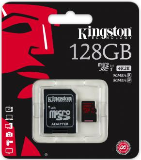 Карта памяти Micro SDXC 128GB Class 10 Kingston SDCA3/128GB + SD адаптер