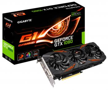 Видеокарта 8192Mb Gigabyte GeForce GTX1080 G1 GAMING PCI-E 256bit GDDR5X DVI HDMI DP GV-N1080G1 GAMING-8GD Retail