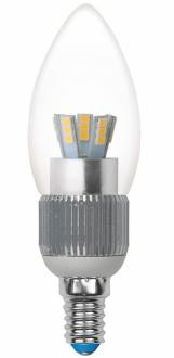 Лампа светодиодная свеча Uniel Cryslal Dimmable E14 5W 4500K LED-C37P-5W/NW/E14/CL/DIM