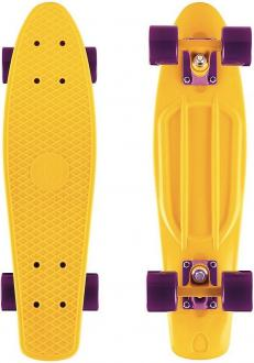 "Скейтборд Y-SCOO Big Fishskateboard 27"" RT винил 68,6х19 с сумкой YELLOW/dark purple 402-Y"