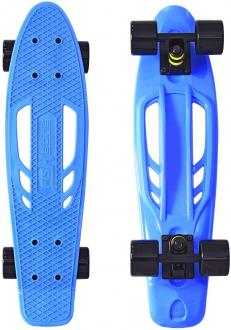 "Скейтборд Y-SCOO Skateboard Fishbone с ручкой 22"" RT винил 56,6х15 с сумкой BLUE/black 405-B"