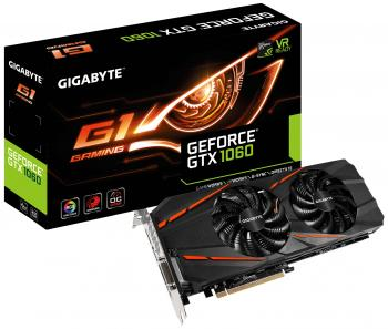 Видеокарта 6144Mb Gigabyte GeForce GTX1060 PCI-E 192bit GDDR5 DVI HDMI DP HDCP GV-N1060G1GAMING-6GD V2 Retail
