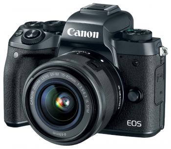 "Фотоаппарат Canon EOS M5 24Mpix 3"" 1080p WiFi 15-45 IS STM f/ 3.5-6.3 LP-E17 черный 1279C012"