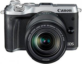 "Фотоаппарат Canon EOS M6 24.2Mpix 3"" 1080p WiFi 18-150 IS STM f/ 3.5-6.3 LP-E17 серебристый 1725C022"