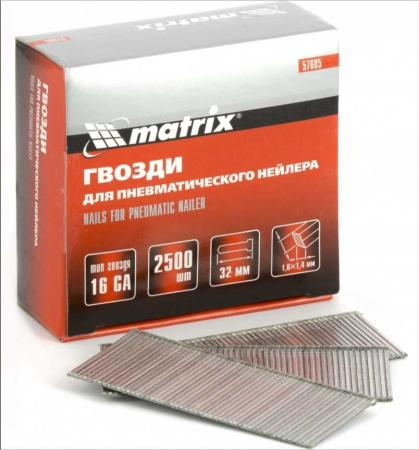 Гвозди MATRIX 57605 16ga для пневматического нейлера сечение 1.6х1.4 длина 32мм 2500шт гвозди для степлера matrix 38 мм 2500 шт