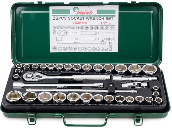 Набор инструментов HANS 4636MA универсальный на 1/2 всего 36 предметов набор инструментов hans 56110 5 набор слесарный 5 предметов