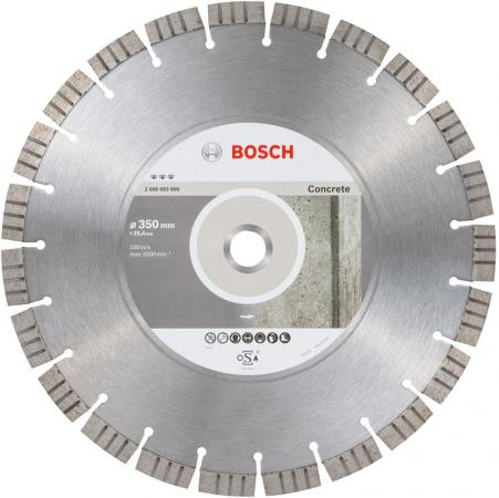 Алм. диск BOSCH Bf Concrete 350-25.4 (2.608.603.800) Ф350х3.2х25.4мм сухой рез сегментный по бетону цена и фото