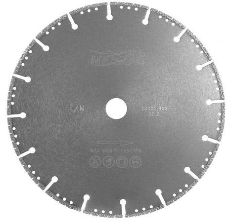 Диск алмазный MESSER F/M 01-61-230 Ф230х2.8х22мм сухой рез сегментный по металлу