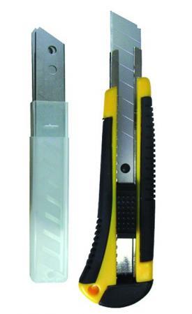 Нож BIBER 50113 технический усиленный обрезиненый корпус 18мм + 3 запасных лезвия цены