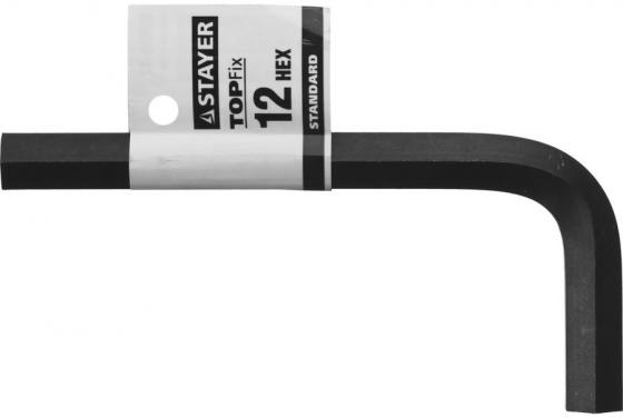 Ключ имбусовый STAYER 27405-12 STANDARD сталь, черный, 12мм stayer standard 27405 h8