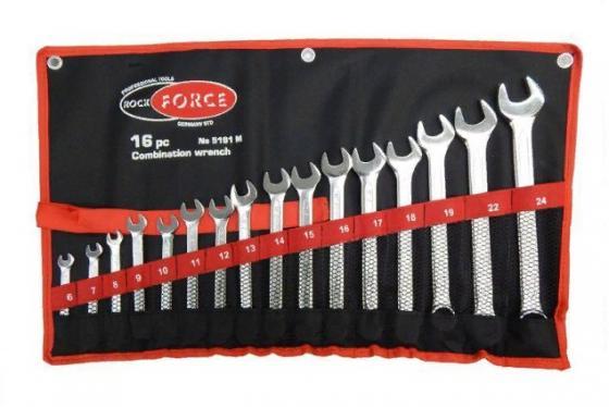 Набор ключей ROCK FORCE RF-5161M комбинированных p 6-24мм 16пр.на полотне набор ключей rock force rf 5093l шестигранных удлиненных 1 5 10мм 9пр 1 25 50
