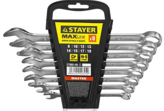 Набор комбинированных ключей STAYER 27085-H8 (8 - 19 мм) 8 шт. набор комбинированных ключей sata 09020 8 19 мм 9 шт