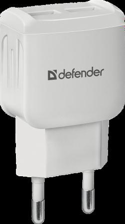 Фото - Defender Сетевой адаптер 2xUSB, 2.1А , белый (UPA-22) (83580) зарядное устройство defender upa 22 2xusb black 83579