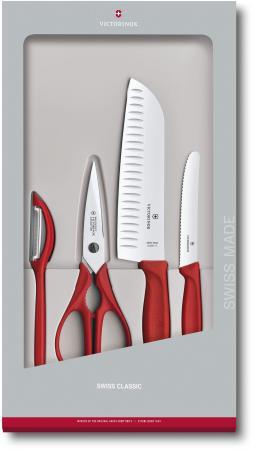 Набор ножей кухон. Victorinox Swiss Classic Kitchen (6.7131.4G) компл.:4шт красный подар.коробка цена