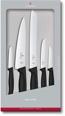 Набор ножей кухон. Victorinox Swiss Classic Kitchen (6.7133.5G) компл.:5шт черный подар.коробка victorinox набор ножей для стейков swiss classic 6 пр 11 см 6 7232 6 victorinox