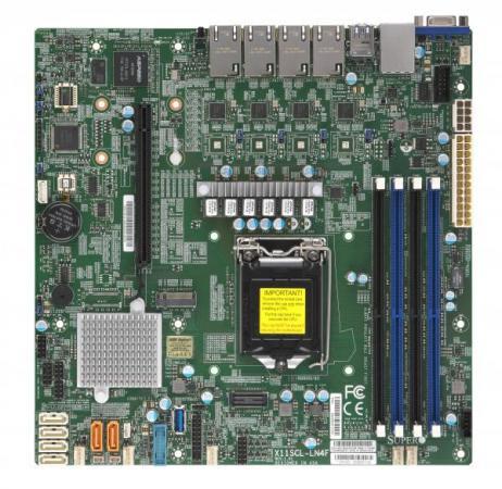 Материнская плата Supermicro MBD-X11SCL-LN4F-O Socket 1151 v2 C242 4xDDR4 1xPCI-E 16x 1xPCI-E 4x 6 mATX Retail supermicro mbd x10slm ln4f o