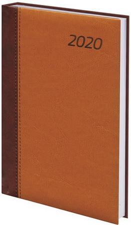 Ежедневник датированный 2020 А5, BRAUBERG Prestige, комбинированный, коричневый/горчичный, 138х213 мм, 129745