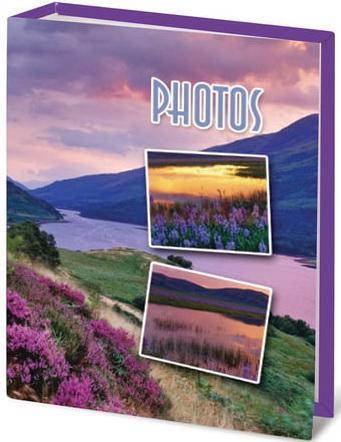 """Фотоальбом BRAUBERG на 100 фотографий 10х15 см, твердая обложка, """"Горный вид"""", сиреневый, 390662 цена и фото"""