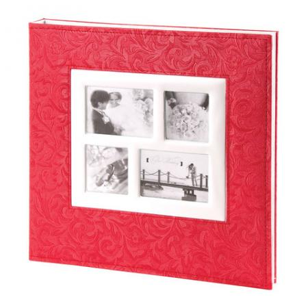 Фотоальбом BRAUBERG свадебный, 20 магнитных листов 30х32 см, под фактурную кожу, коралловый фотоальбом image art sp21 в013 10 магнитных листов c0040407