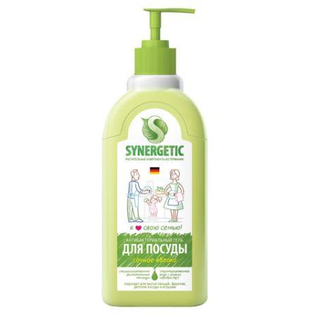 Средство для мытья посуды 500 мл SYNERGETIC Яблоко, антибактериальное, дозатор, 103052 средство для стирки 1000 мл synergetic synergetic