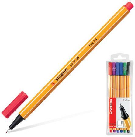 Ручки капиллярные STABILO, набор 6 шт., Point, 0,4 мм (голубая, красная, синяя, черная, фиолетовая, сиреневая), 88/6