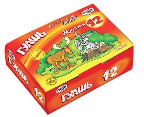 """цены на Гуашь ГАММА """"Мультики"""", 12 цветов по 40 мл, без кисти, картонная упаковка, 221032Н  в интернет-магазинах"""
