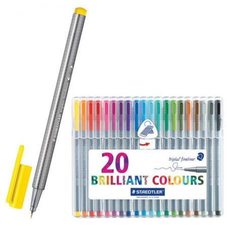 Ручки капиллярные STAEDTLER Triplus Fineliner, набор 20 шт., трехгранные, линия 0,3 мм, ассорти, 334 SB20
