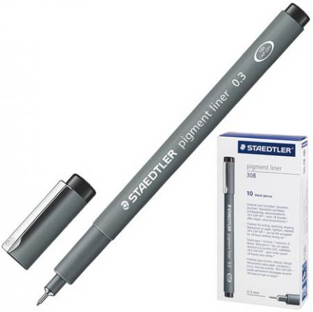 Ручка капиллярная STAEDTLER Pigment Liner, ЧЕРНАЯ, корпус серый, линия письма 0,3 мм, 308 03-9 ручка капиллярная faber castell ecco pigment черная корпус серый линия письма 0 7 мм 166799