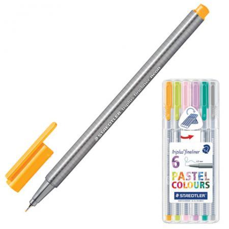 Набор капиллярных ручек капилярный Staedtler Triplus Fineliner 6 шт ассорти 0.3 мм ручка капиллярная staedtler triplus broadliner 338 box338 30 цвет чернил голубой 10 шт