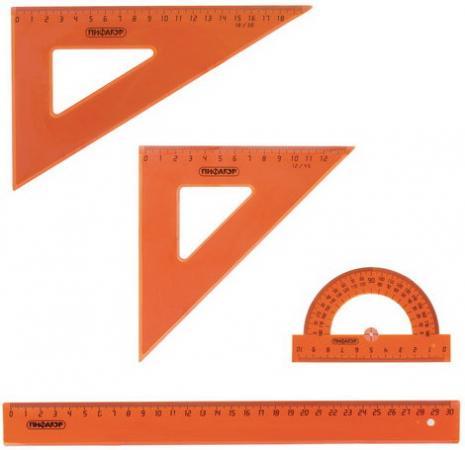 Фото - Набор чертежный большой ПИФАГОР (линейка 30 см, 2 треугольника, транспортир), прозрачный, неоновый, пакет, 210629 линейка деревянная 30 см пифагор 210669